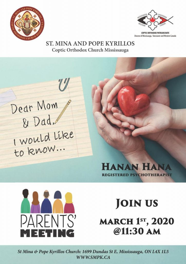 Parents' Meeting 2020 with Hanan Hana (registered psychotherapist)